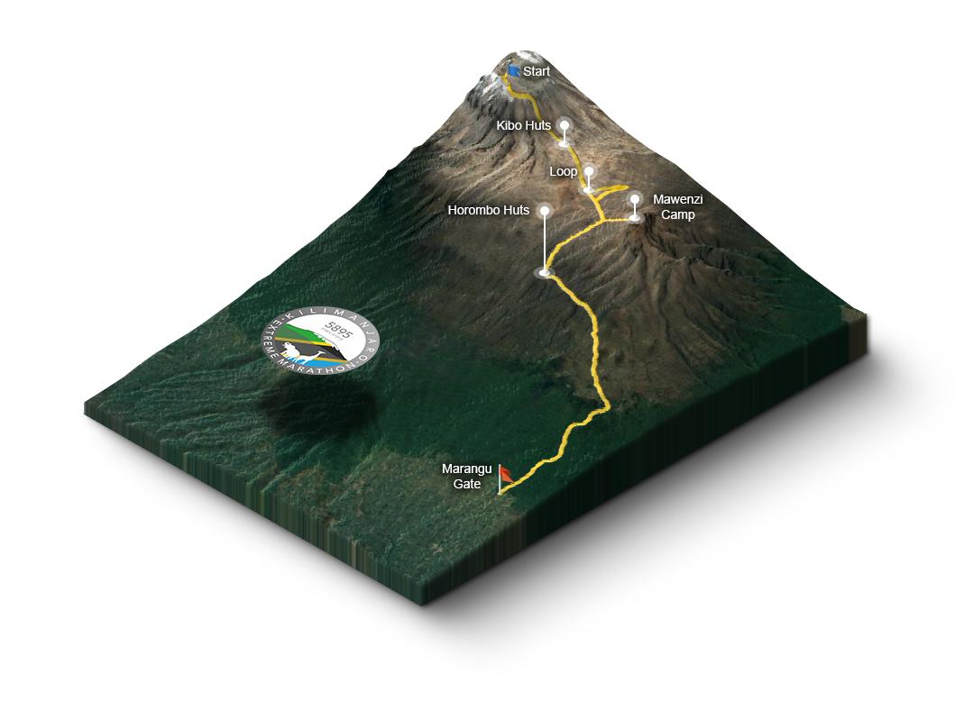kilithon kilimanjaro extreme marathon route
